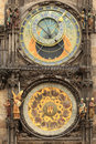 Detail of the historical medieval astronomical clock in prague on old town hall czech republic Stock Image