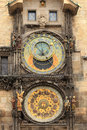 Detail of the historical medieval astronomical clock in prague on old town hall czech republic Stock Photos