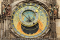 Detail of the historical medieval astronomical clock in prague on old town hall czech republic Royalty Free Stock Photo