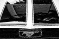 Detail of the hood and the emblem of a sports car ford mustang berlin may black white oldtimer tage berlin brandenburg may Royalty Free Stock Photography