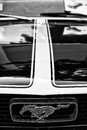 Detail of the hood and the emblem of a sports car ford mustang berlin may black white oldtimer tage berlin brandenburg may Royalty Free Stock Images