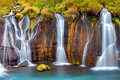 Detail of the Hraunfossar falls Royalty Free Stock Photo