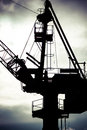 Detail of industrial crane in gdansk shipyards view massive the poland Royalty Free Stock Photos