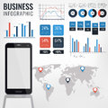 Detail infographic vector illustration. World Map and Information Graphics with touchscreen mobile phone. Royalty Free Stock Photo