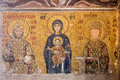 Detail interior haghia sophia former church than mosque now museum golden mosaic holy mary boy jesus istanbul turkey Stock Photography