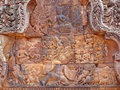 Detail of khmer stone carving Royalty Free Stock Photos