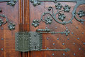 Detail of large entrance door of the catholic church of gau alge algesheim in rhine hesse germany Royalty Free Stock Photo
