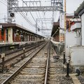 Detail of local railway station in Kyoto, Japan. Royalty Free Stock Photo