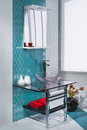 Detail of a luxurious bathroom interior with turquoise and white tiles Stock Images