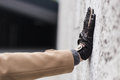 Detail of a man wearing gloves Royalty Free Stock Photo