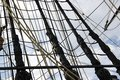 Detail of  mast of  ship. Detailed rigging with sails. Royalty Free Stock Photo