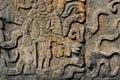 Detail of Mayan wall carving Royalty Free Stock Photo