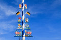Detail of a maypole in munich bavarian on viktualienmarkt famous delicatessen market germany Royalty Free Stock Image