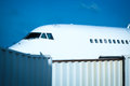 Detail of a modern aeroplane with boarding Royalty Free Stock Photo