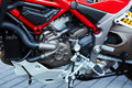 Detail of modern motorcycle engine. Royalty Free Stock Photo
