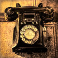 Detail monochrome view of old vintage dial telephone Royalty Free Stock Photo