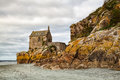 Detail of mont saint michel in brittany the small chapel on the coast near the Royalty Free Stock Photos