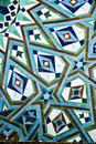 Detail of the mosaic of a fountain beautiful mosque hassan ii in casablanca Stock Images