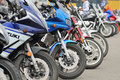 Detail of motorbike in a parking Royalty Free Stock Photo