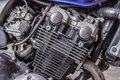 Detail of motorcycle engine. Royalty Free Stock Photo