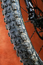 Detail mountain bike brown background Stock Photography