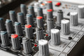 Detail of a music mixer in studio see my other works portfolio Stock Photo