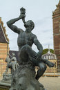 Detail of the Neptune Fountain in Frederiksborg Castle in Hiller Royalty Free Stock Photo