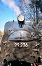 Detail of an old black steam locomotive from the front Royalty Free Stock Photo