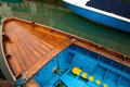 Detail of old boat wooden moored on canal in burano veneto italy Stock Image