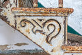 Detail of old cast iron staircase and step Royalty Free Stock Photo