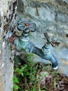 Tarnished Old Style Garden Tap, Greece Royalty Free Stock Photo
