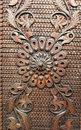 Detail from an old iron metal door. Close - up of ornament. Texture, background Royalty Free Stock Photo