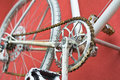 Detail of old road bike - crankset, pedal Royalty Free Stock Photo