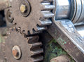 Detail of old rusty gears transmission wheels Stock Photo