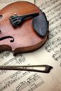 Detail of old scratched violin on music sheet collection vintage style Royalty Free Stock Image