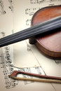 Detail of old scratched violin on music sheet collection vintage style Royalty Free Stock Photos