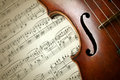 Detail of old scratched violin on music sheet collection vintage style Royalty Free Stock Photography