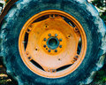 Detail of an old tractor wheel Royalty Free Stock Photo