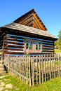 Detail of old traditional wooden house in Slovakia, Eastern Euro