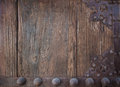 Detail of old wood plank and decorative metal on chinese door Stock Photography