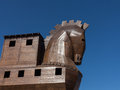 Detail of old wooden horse at troy details the head the replica trojan created from wood turkish site Stock Images