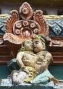 Detail of older gopuram at mahalingeswarar temple loving couple kumbakonam india october wear and tear have damaged the lesser Royalty Free Stock Photo