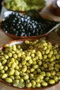 Detail of olives bowl in the marketplace Stock Photo