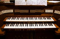 Detail of an organ in a church keyboard Royalty Free Stock Photography