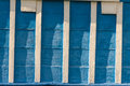 Detail orthodoxy church ukraine europe blue wooden wall white lines Stock Photo