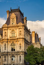 Detail of Paris City Hall facade before sunset, France Royalty Free Stock Photo