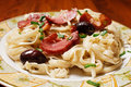 Detail of a pasta dish Royalty Free Stock Photography