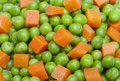 detail of peas and carrot in squares Royalty Free Stock Photo