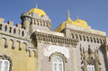 Detail of the pena national palace is a romanticist in sintra portugal Stock Photo