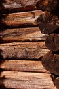Detail of pioneer log cabin Royalty Free Stock Photo